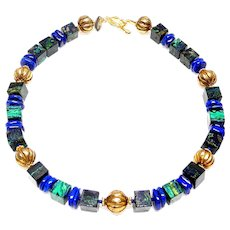 Natural Azurite/ Malachite Cubes, Natural Lapis and Vintage Vermeil