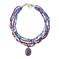 Natural Sapphires and Kyanite Pendant on Multi Strands of Natural Rubies, Kyanite and Iolite