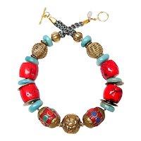Tibetan Brass, Natural Amazonite, Coral, Lapis,  Chinese Coins