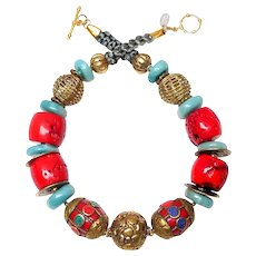 Tibetan Brass, Natural Amazonite, Coral, Lapis,  Chinese Coins