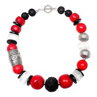 Bold Necklace of Red Coral, Black Lacquer, Crystal & Afghan Silver