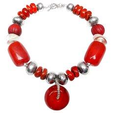 Tibetan Resin beads, Sterling Silver,  Tibetan Glass