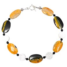 Natural Yellow, Bumblebee Jasper, Sterling Silver and Onyx