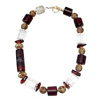 Agate Intaglio Seal  (Vintage) with Natural Amber, Crystal, Brass, Wood and Vermeil