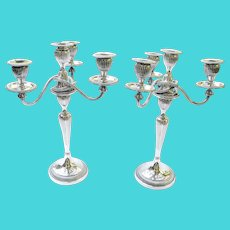 Pair of Antique Silver Plate 3 Branch, 4 Light Candelabras, Circa 1910