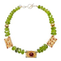 Vermeil Inlaid with Carnelian on Peridot and 18CT Gold