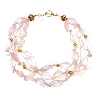 Multi Strands of Natural, Clear Rose Quartz, 18CT Gold and Natural, Cultured Keshi Pearls