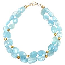 Two Strands of Translucent Natural Aquamarine and Vintage 18CT Gold