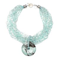 Multi Strands of Natural Aquamarine,  Antique,  Turquoise Disc and Sterling Silver