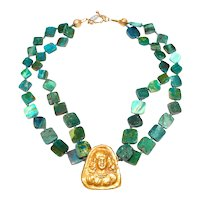 Antique 18CT Gold, Afghan Pendant on Double Strands of Natural Peruvian Opals