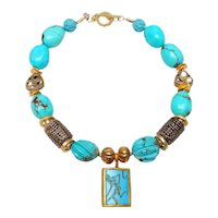 The Runner Intaglio in Turquoise Necklace