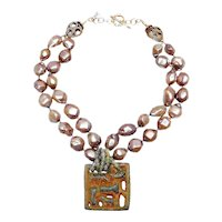 Ancient Bronze Mixes with Double Strands of Natural Cultured Pearls