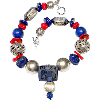 Elephant in Lapis with Coral and Handmade Silver Makes a Bold Statement