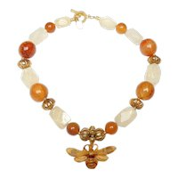 Elegance Personified in Necklace of Carved Horn Bee From France
