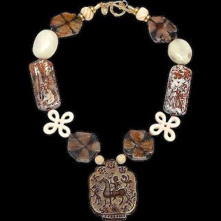 Fascinating Bronze Seal Necklace in Browns & Creams