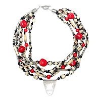 Distinctive African Batik Beads of Bone with Sterling Silver Pendant, Beads & Coral