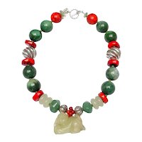 Inspired Necklace of Jades, Coral & Silver Embracing Jade Baby Pendant