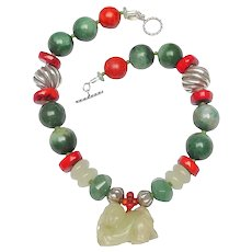 Inspired Necklace of Jades, Coral & Silver Embracing Antique Jade Baby Pendant