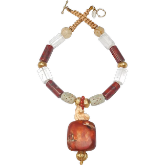 Unforgettable  Horse Sitting on Ancient Carnelian & 18CT Gold