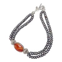 . Elegance in Pearls & Carnelian Set in Antique Silver
