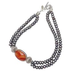 Elegant Grey pearls with Carnelian Set in  Silver