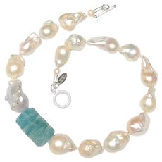 Jaw Dropping Necklace of Large Aquamarine & Very Big Baroque Pearls