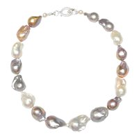 Knock-Out Necklace of Large Baroque Grey, White, Pink Pearls