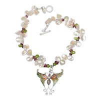 Exquisite Ruby & Pearl Butterfly Pendant Flits Along with Keshi Pearls & Tourmaline Necklace