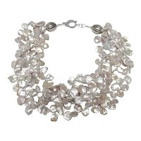 Stunning Silver/Grey Keshi Pearls Collar