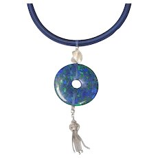 Charming Victorian Sterling Silver Tassel & Lapis/Malachite Disc on Handmade Silk Band