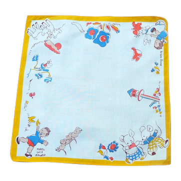 Vintage 1920's Child' Handkerchief, Marked Mabel Lucie Attwell
