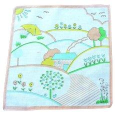 Vintage 1950's Child's  Dream-time Landscape Handkerchief
