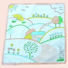 Vintage 1950's Child's  Dream-time Landscape Handkerchief