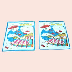 A Pair of Vintage1950's Space Patrol Child's Handkerchiefs