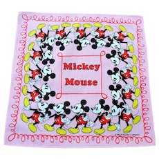Vintage, 1950's Mickey Mouse Child's Handkerchief