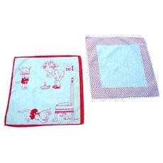 Vintage, 1920's Child's Handkerchief and Polka Dot Handkerchief