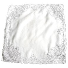 Vintage Hand Embroidered Linen Bridal Handkerchief with Butterfly