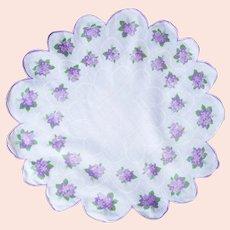 Violets on Vintage, Rare Round, Scallop Edged, Handkerchief