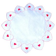 Romantic Hearts Embroidered on Vintage, Round Handkerchief