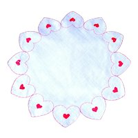 Valentines Romantic Hearts Embroidered on Vintage, Round Handkerchief