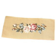 Vintage  Needlepoint  Canvas of Roses for a Cushion Cover, Partially Worked