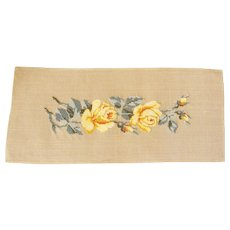 Vintage  Needlepoint  Canvas of Yellow Roses for Cushion Cover, Partially Worked