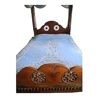 Antique Victorian Net Bedspread with Hand Crochet