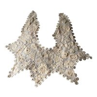 Antique Irish Victorian Crocheted Lace Collar, Ecru