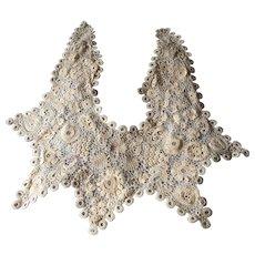 Antique Irish Victorian Crocheted Lace Collar, Ecru