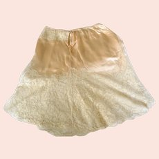 Art Deco French, Satin, Lace Half Slip