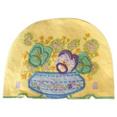 Vintage,  1940's Hand Embroidered Tea Cosy