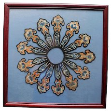 Antique Chinese Embroidered Framed & Mounted Collar Ching Dynasty