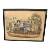 Antique Victorian Hand Coloured Engraved Print of Royal Family on a Drive in Windsor Park