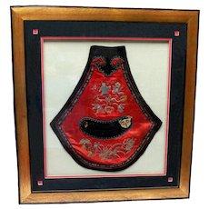 Antique 19th Century Chinese Silk Embroidered, Framed  Child's Bib